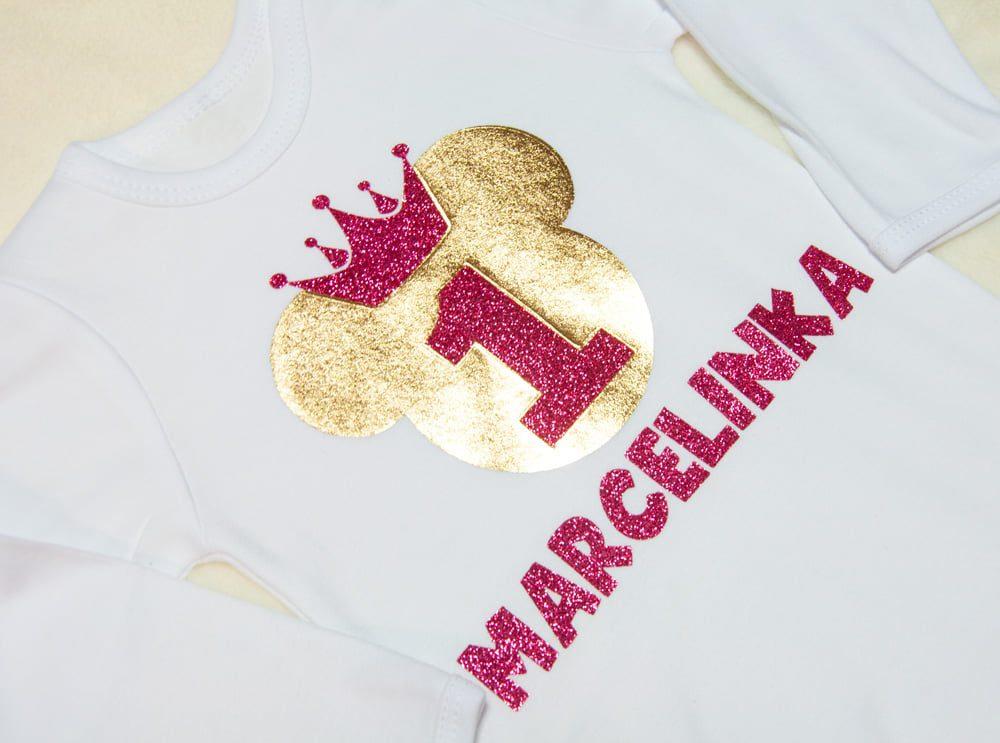 4eb0f0d91 Koszulka/Body na roczek różowo-złote - Fabryka Bodziaków