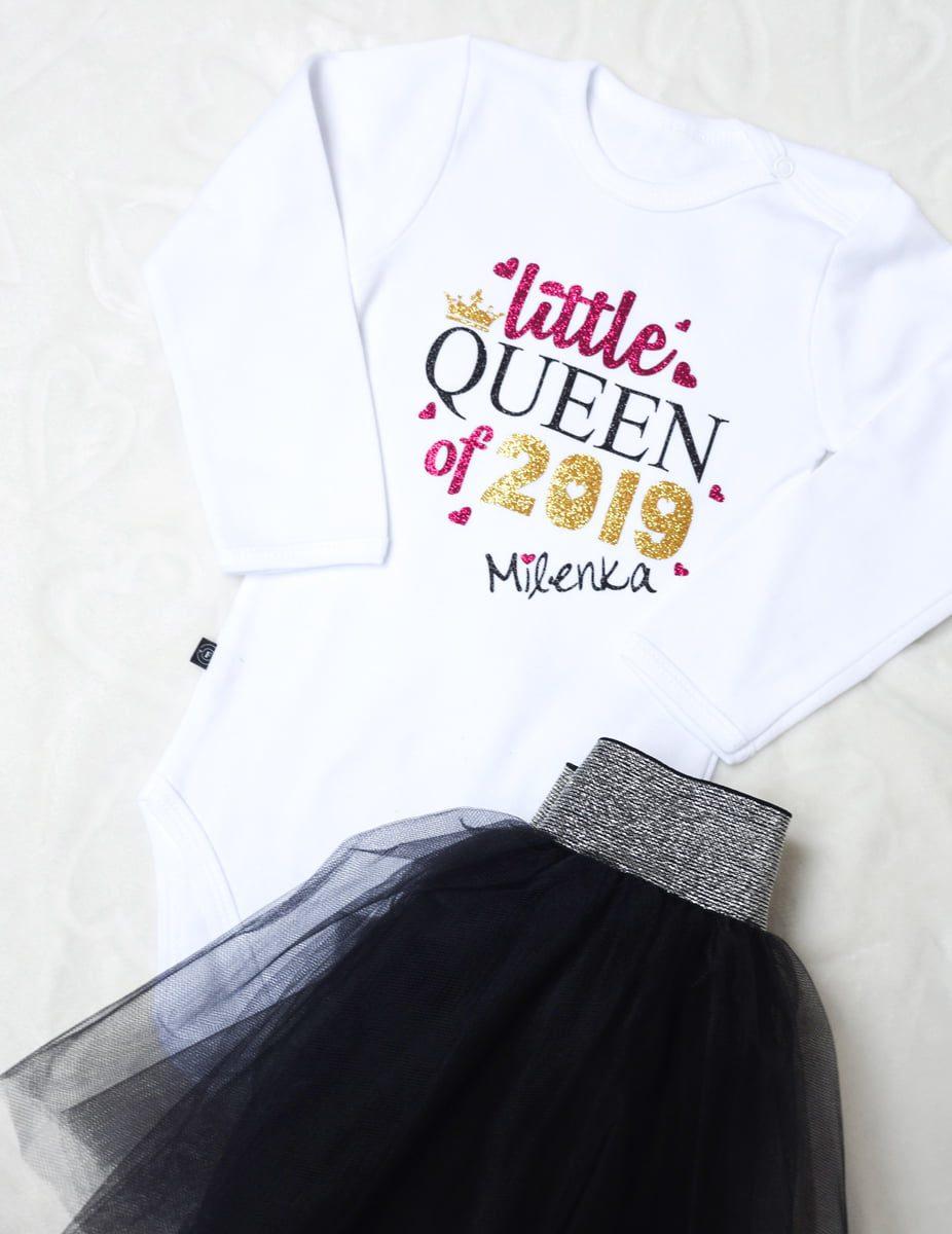 493c9f9f8 Body/Koszulka Little Queen + Imię - Fabryka Bodziaków - z brokatem