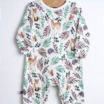 Pajac niemowlęcy liście i zwierzęta