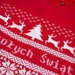 Czerwona bluza damska z nadrukiem sweterka Wesołych Świąt rozmiar M