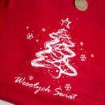 Koszulka czerwona damska z białą choinką Wesołych Świąt rozmiar L