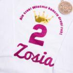 Body z długim rękawem rozmiar 92 na drugie urodziny z imieniem Zosia