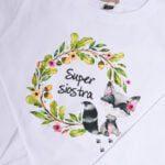 Koszulka z długim rękawem Super siostra w wieńcu rozmiar 116