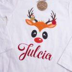 Koszulka biała z długim rękawem rozmiar 122 reniferek z imieniem Julcia