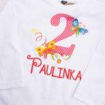 Koszulka biała z długim rękawem rozmiar 92 na drugie urodziny z imieniem Paulinka