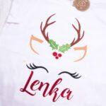 Koszulka biała z długim rękawem renifer Laura rozmiar 122