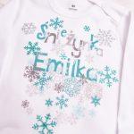 Body białe z długim rękawem rozmiar 80 śnieżynka Emilka