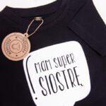 Koszulka czarna z krótkim rękawem Mam super siostrę rozmiar 86