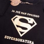 Koszulka czarna z krótkim rękawem już mam swojego superbohatera w rozmiarze 86