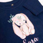 Koszulka granatowa z krótkim rękawem z króliczkiem Sara rozmiar 98