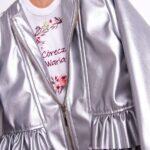 Ramoneska niemowlęca srebrna z falbankami