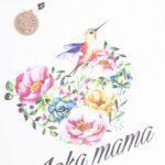 Koszulka damska biała z wydłużonym tyłem Jaka mama koliberek rozmiar S