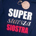 Koszulka granatowa z długim rękawem Super starsza siostra rozmiar 116