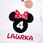 Koszulka biała z krótkim rękawem Myszka Laurka rozmiar 116