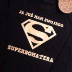 Koszulka czarna z długim rękawem Ja już mam swojego superbohatera rozmiar 80