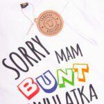 Koszulka biała z krótkim rękawem sorry mam bunt dwulatka rozmiar 98