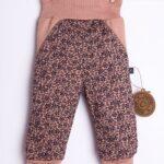 Spodnie dla niemowląt brązowo-beżowe w czarne kwiatuszki