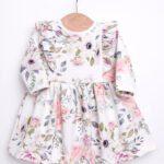 Sukienka dla dziewczynki w róże z długim rękawem