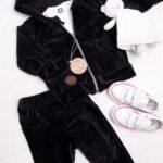 Welurowy komplet dla dziecka koloru czarnego